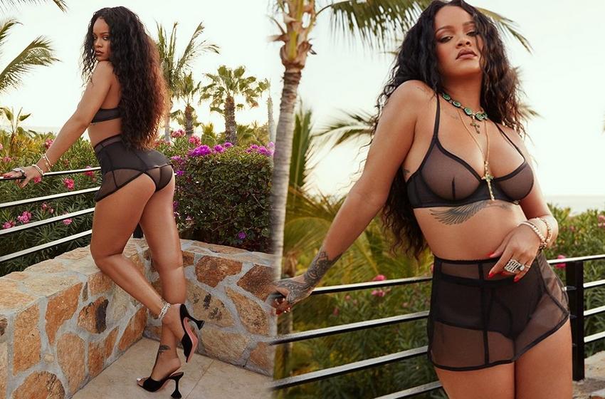 Rihanna'dan iç çamaşırsız üstsüz poz