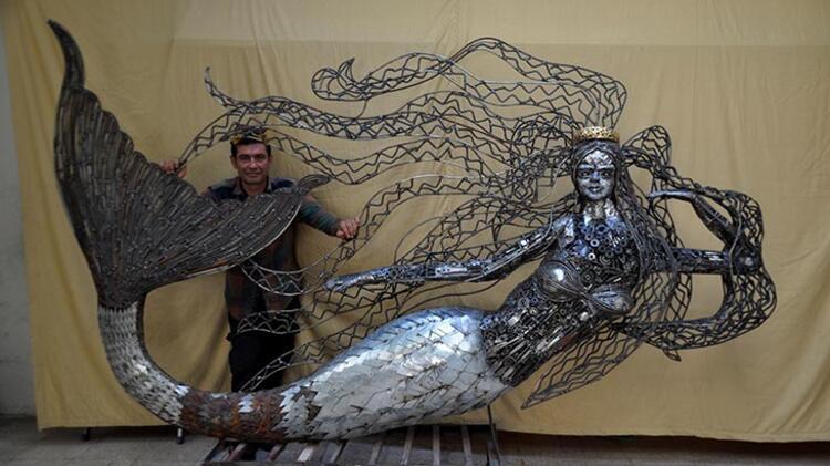 Hurda parçalarından yaptı tam 400 kilo! Sahilde sergileyecek…