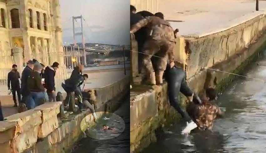 Ortaköy'de can pazarı! Polis denize atlayıp kurtardı